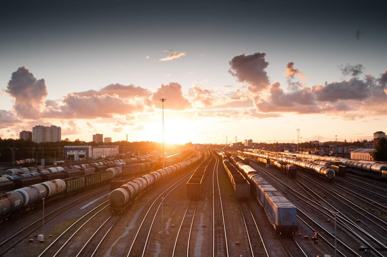 train, sunset, tracks